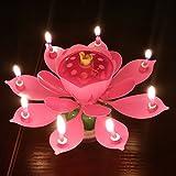 Anself ロータスの花 音楽キャンドル ハッピーバースデー回転 ブロッサム キのキャンドル パーティー装飾