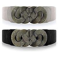 VOCHIC Retro Womens Wide Elastic Belt Metal Interlock Buckle Waist Stretchy Cinch Belt for Dress