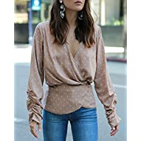 The Drop Women's Desert Taupe Polka Dot V-Neck Peplum Blouse by @paolaalberdi