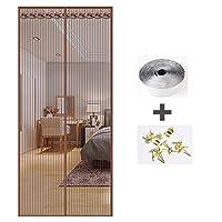 ANUO 蚊帳のドア マジックテープ付きマグネットカーテン、パティオドア用用のガラス繊維メッシュ網戸 スライドガラスドア用磁気スクリーンドアBrown_63x87in/160x220cm
