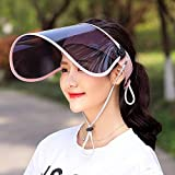 サンバイザー LightYou レディース レインハット 360°可動式 帽子 レインバイザー 自転車 キャップ UVカット UPF50+ 紫外線対策 日焼け対策 つば広 ワイド 男女兼用 通学 通勤 旅行用 超軽量 (ピンク)