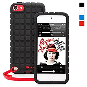 英国Snugg社 iPod Touch 第5世代/第6世代 用ケース 滑りにくいシリコンカバー 生涯補償付き (ブラック)