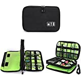 """Electronics Organizer Bag,Sundell Double Layer Waterproof Travel Gear Organizer Storage Bag Portable Houseware Bag for Various Cables, Charger, SD Cards, iPad or Tablet(Up to 7.9"""") etc.-Black/Green"""