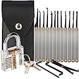 Lock Picking Set, 15-Piece Lock Pick Set with Transparent Training Padlock for Beginners and Locksmith Training