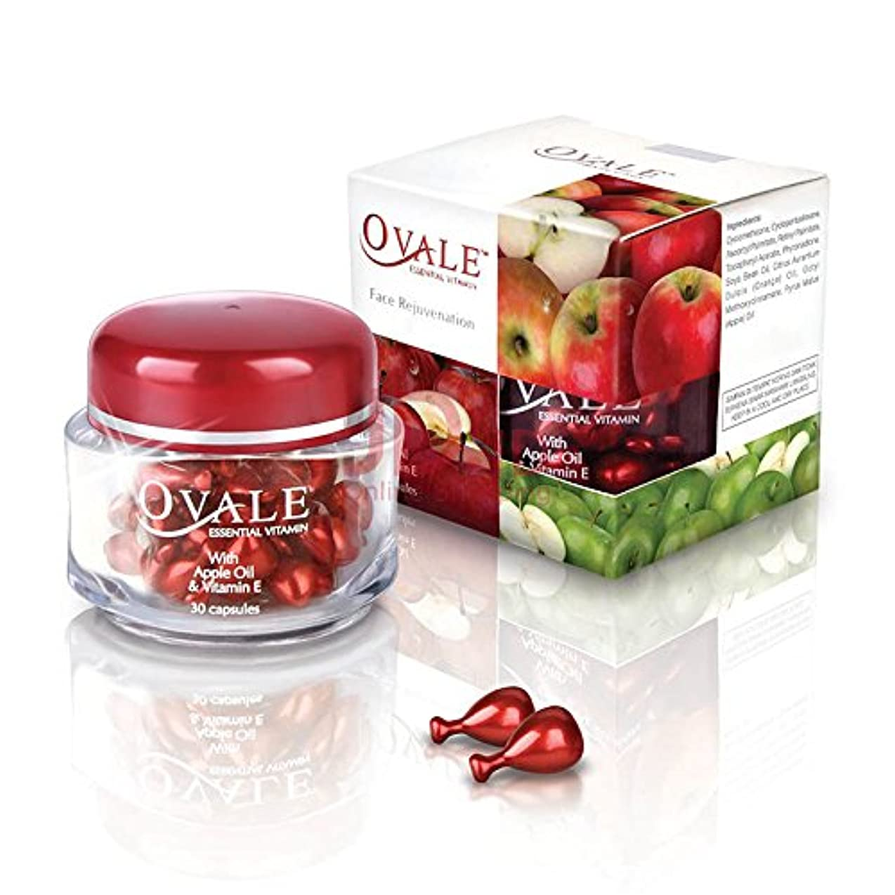 さまよう研究所強要Ovale オーバル フェイシャル美容液 essential vitamin エッセンシャルビタミン 30粒入ボトル×2個 アップル [海外直送品]