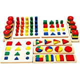 TOWO Wooden Geometric Shapes Stacking Rings and Fractions Boards 8 Sets in One - Wooden Shape Sorter Toy and Wooden Stacking Game - Stacking and Sorting Educational Toys for Montessori Learning