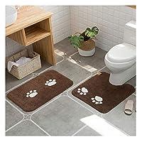 GHHQQZ バスルームラグ 滑り止め 丈夫 コットン フットパッド 家庭 手作り バスルームのカーペット、 4色、 厚さ1.4 cm、 6サイズ (Color : Brown, Size : 55x50cm)