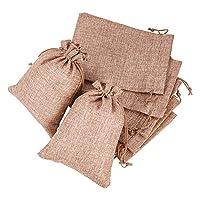 BENECREAT 25枚亜麻袋 巾着袋 ジュエリー袋 ポーチ 巾着バッグ 和風ラッピング袋 亜麻色 アクセサリー入れ 包装用品 手芸材料 18x13㎝