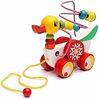 Taiguangカラフルな木製Pull Walk Along Duck Toy Bead開発インテリジェンス子供プレゼント