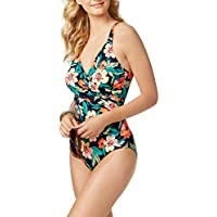 Swim Solutions Women's Spring Floral-Print Surplice Tummy-Control One-Piece Swimsuit