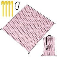 SUNJANレジャーシート コップケーキ ピンク ピクニックマットアウトドア用 持ち運び便利 洗える 防水2~6人用 ペグ カラビナ付き 150×145cm