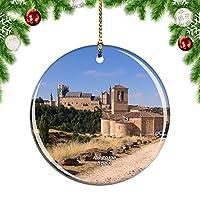 Weekinoスペインセゴビア中世の城クリスマスデコレーションオーナメントクリスマスツリーペンダントデコレーションシティトラベルお土産コレクション磁器2.85インチ