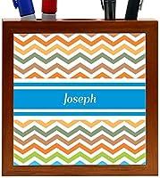 Rikki Knight Joseph Blue Chevron Name Design 5-Inch Wooden Tile Pen Holder (RK-PH4925) [並行輸入品]