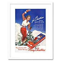 Advert Cigarette Tobacco Smoking Christmas Winter Ski Framed Wall Art Print 広告タバコ喫煙キリスト冬壁