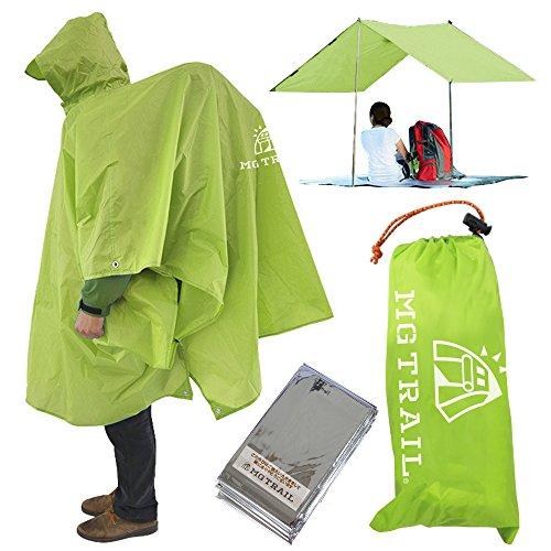 【MG TRAIL】エムジートレイル レインコートシートタープキャンプトレッキング登山時の雨具アウトドアフェスでも活躍リュックを背負ったまま着用できる 携帯ポンチョ 防寒シート付(グリーン)