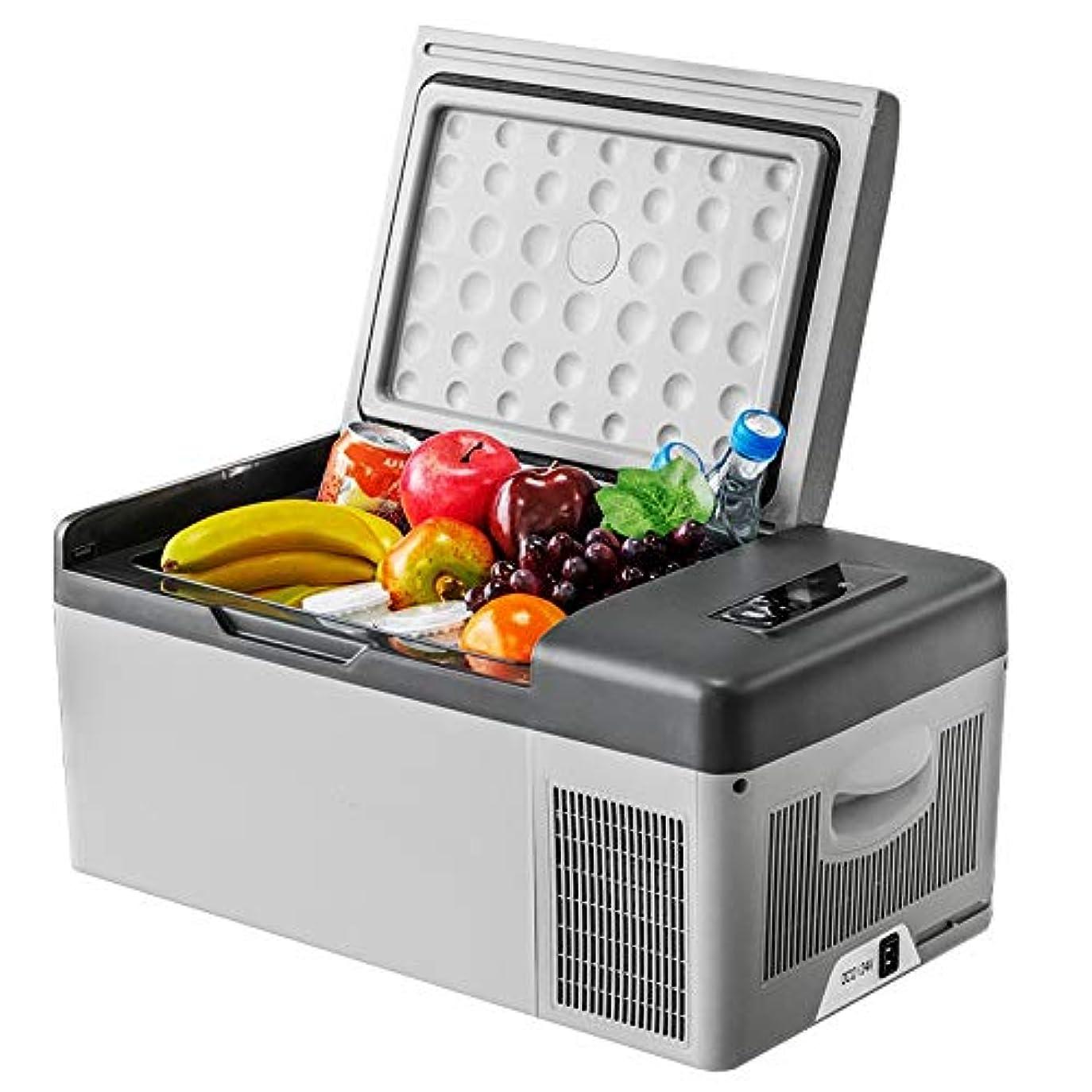 代表して独占検出器車載冷蔵庫 小型冷温庫 15Lキャンプオフィストラベルミニ冷蔵庫電気ドリンククーラー屋内屋外の旅行12V / 220V ミニ冷蔵庫 (色 : 白, Size : 57X32X26CM)