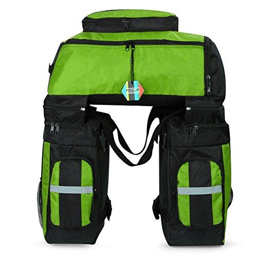 Pellor リアキャリアバッグ 自転車バッグ 大容量 自転車サイドバッグ 3色選択可能 携行バッグ 取り付け簡単 防水カバー付き リュックサックとして利用可能 (グリーン)