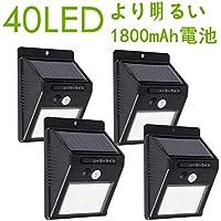 Sabotenn 40LEDセンサーライト ソーラーライト屋外両面テープ 太陽光発電4個セット