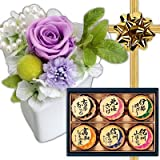 敬老の日 お祝い ギフト 花 プリザーブドフラワー アレンジメント ハートポット紫 と 磯じまん 日本全国うまいものめぐり セット プレゼント