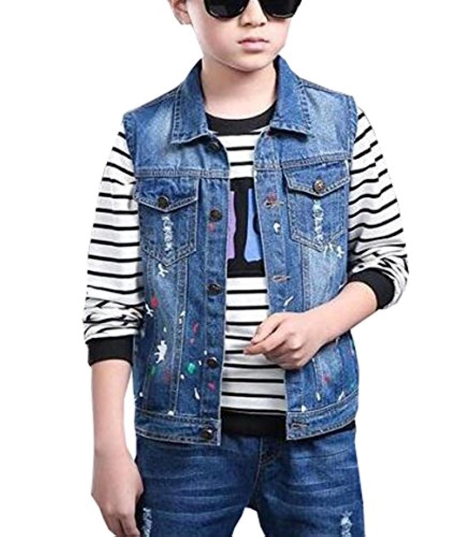 雲の花 男の子のカジュアルなデニムベストジャケットの子供のカウボーイの紳士服