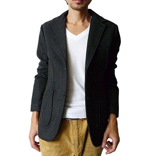 (ハイクオリティプロダクト) High quality product メンズ メルトンウール2Bテーラードジャケット / メンズファッション アウター テーラードジャケット メンズ シルエット ウール アウター ジャケット テーラー JKT ブルー ブラック 黒 グレー チェック テーラード (チャコール) Mサイズ