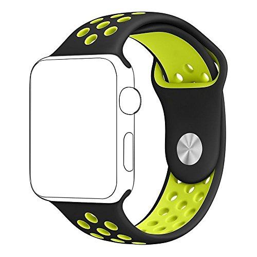 Apple Watch バンド アップルウォッチ BRG Apple watchベルト スポーツバンド ソフト 高級感 シリコーン 製 交換ベルト (38mm, ブラック+蛍光黄)