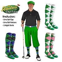メンズゴルフKnicker Outfit–ライムゴルフKnickers、ゴルフキャップ、3アーガイルソックス