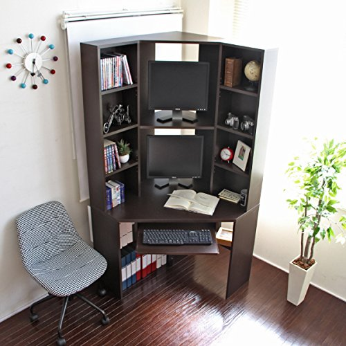 パソコン デスク ダブル 収納 書棚 コーナー ダークブラウン JS115DBR