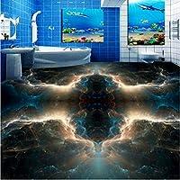 Wuyyii 3D床の家の装飾ファンタジー星雲トイレの寝室の床の自己接着防水壁画の赤ちゃん部屋の壁紙