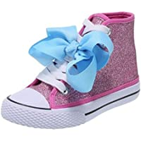 JoJo Siwa Bow Sneaker High Top Silver Pink Glitter Shoe for Girls Shoe Sizes10, 11,12, 13,1,1.5,2,3