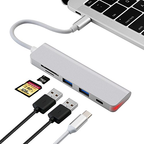 XUANRUI USB Type-C ハブ PD対応 オールマイティなUSB ドック TF/SDカードリーダー USB 3.0 x 2 軽量コンパク アルミUSB ハブ 変換アダプタ MacBook Pro 2017 2016, HP , Dell XPS 15 13, Huawei Matebook, Lenovo Yoga 720, Galaxy S8 Plus,Acer 等に対応 シルバー