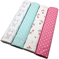 Wingkids Infant Swaddling Blankets Muslin Ultra Soft 100% Cotton Bedclothes for Baby, 4 Patterns Swaddle Blankets Baby Bed Sheet Receiving Blankets 40x 30 (Bunny, Dot and Flower) by Wingkids