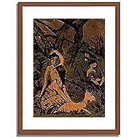 オットー・ミュラー Mueller, Otto「Lagernde Zigeunerfamilie mit Ziege.」インテリア アート 絵画 プリント 額装作品 フレーム:木製(茶) サイズ:S (221mm X 272mm)