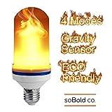 PremiumアップグレードLED炎効果Fire Light Bulb–4モードW /重力センサー、アンビエントシミュレーション、ガスランプ、ちらつきUp & Down、ソリッド、呼吸、グロー&アウトドアで、ギフト、パーティーHoliday飾り