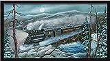 Wabash TrainモーガンD Winter Wonderland Full Moon Framedアートプリント壁装飾画像 PL-MOR112-B-30x16