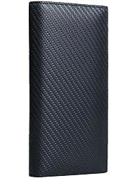 [High-end] 【極上イタリア製カーボンレザー】高級 本革 二つ折り 長財布 大容量 ボックス付き ME00512_e
