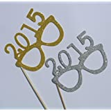 2015メガネ写真ブース小道具メガネon a Stick新しいYears Celebrationゴールドとシルバー
