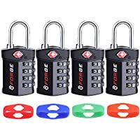 4 Digit TSA Approved Luggage Lock, Change Your Own Color and Combination, Inspection Indicator, Alloy Body