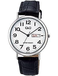 [シチズン キューアンドキュー]CITIZEN Q&Q 腕時計 スタンダード アナログ 革ベルト 日付 曜日 表示 ホワイト A202-304 メンズ