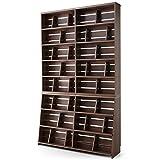 本棚 マンガ収納 スライド&ディスプレイ ブックエンド 木製 リアル木目 ワイドタイプ 幅120 上下段 セット ウォルナット