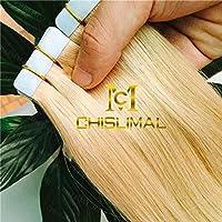 FidgetGear 皮の横糸のシームレスなテープ100%のRemyの人間の毛髪延長16インチ24インチ20個 #24金髪