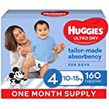 HUGGIES Ultra Dry Nappies, Boys, Size 4 (10-15kg), One Month Supply, 160 count, (Packaging May Vary)