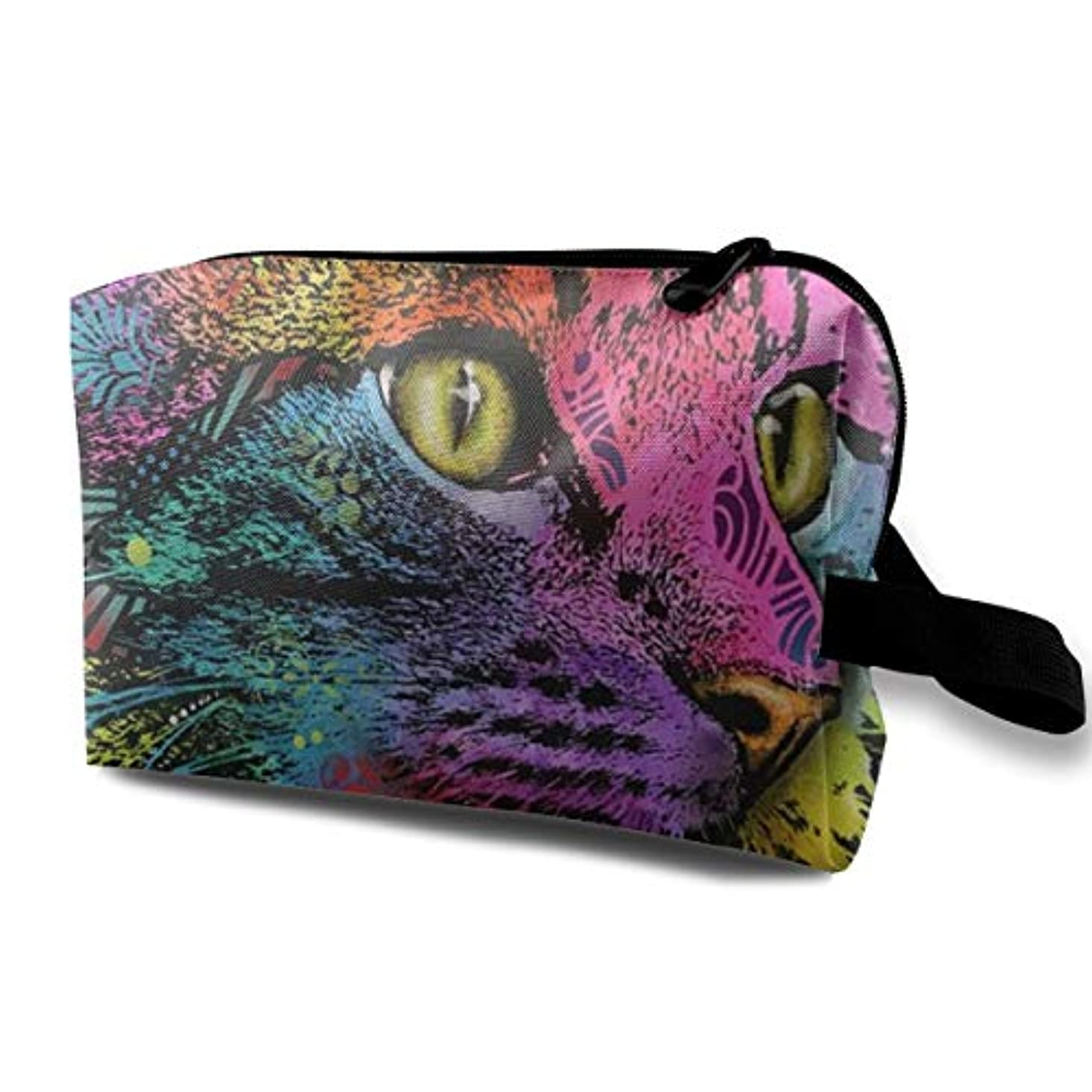 徹底一般フクロウMysterio Gaze Cat 収納ポーチ 化粧ポーチ 大容量 軽量 耐久性 ハンドル付持ち運び便利。入れ 自宅?出張?旅行?アウトドア撮影などに対応。メンズ レディース トラベルグッズ