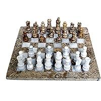 Radicalnハンドメイド化石サンゴとホワイト大理石フルチェスゲーム元大理石チェスセット