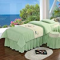 4枚の美容ベッドカバーセット,単色 コットンマッサージベッドカバー,洞窟マッサージテーブルシートセット付き-a 185*70cm