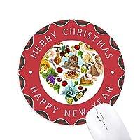 イタリアハートマークの国旗柄 円形滑りゴムのクリスマスマウスパッド