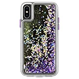 Case-Mate iphone ケース (iPhoneX/iPhoneXs) ハード スマホケース カバー [耐衝撃・ワイヤレス充電対応・ハイブリッド・スリム構造] 流れる キラキラ ウォーターフォール グロウ パープル