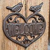 CJH ヨーロッパのレトロ鋳鉄錬鉄装飾的なカード鳥ハート型ようこそブランドホームオフィスの壁の装飾