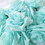 SeleCreate バラ ローズ 造花 フェイク フラワー 花 部分 のみ 50個 セット 青緑色