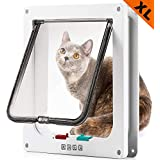 SUCCESS Cat Doors for Exterior and Interior Doors, Pet Door with Magnetic and Automatic 4-Way Locking Flap, Fits Most Door, Wall Sizes, for Large Cats and Dogs, Extra Large(White)